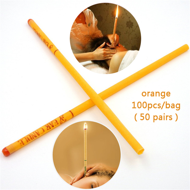 100PCS Orange Scent Indian Ear Candle Ear Wax Cleaner