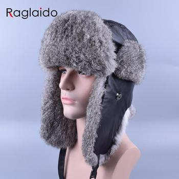 Raglaido hombres sombrero de piel de invierno bombardero sombreros Rusia  Ushanka Unisex piel Real piel de conejo gorras engrosamiento aviador  sombreros ... e204173fe60