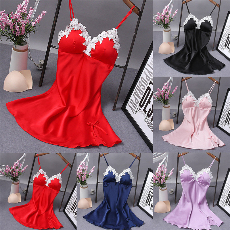 Buy Hot Sexy Women Lady Lingerie Underwear Lace Solid Cut Night Dress Babydoll Sleepwear Sleeping Wear Floral Silk Sleep Dress Women