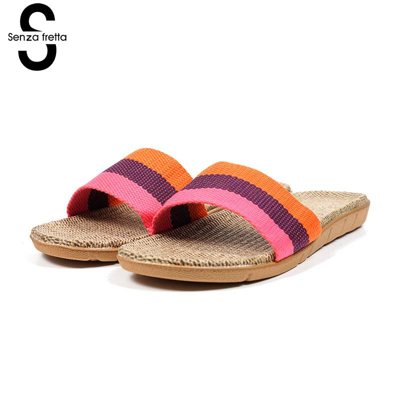 Senza Fretta Summer Women Shoes Home Linen Slippers Couple Indoor Thick Bottom Slippers Non-slip Floor Shoes senza fretta women shoes new summer pvc slippers couples women anti slip home slippers indoor soft bottom women slippers