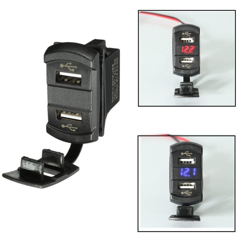 Nuevo 12 V 24 V coche barco Dual 2 USB cargador verde naranja rojo azul LED del voltímetro del medidor de tensión de interruptor panel para coche camión