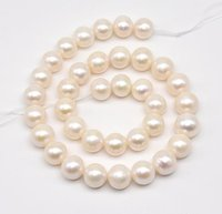 Loose Pearl Jewellery,AA 12 13MM Large Size Near Round White Color Freshwater Pearl Jewellery,One Full Strand On Sale