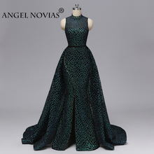 ANGEL NOVIAS Long Women Arabic High Neck Abendkleider Mermaid Lace Black and Green Evening Dresses 2019 with Detachable Skirt