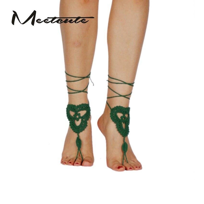 Meetcute Crochet Barefoot Sandals Cotton Knitting