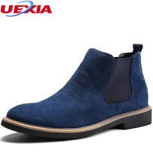 Chelsea Cow Suede Boots Men Shoes Formal High Top Brands Ankle Work Dress Male Shoes Low Heel Oxfords Botas Masculino Motorcycle