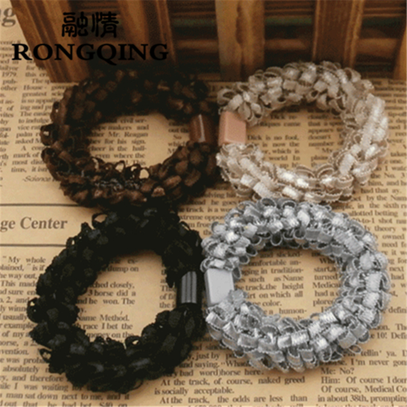 RONGQING 5pcs/lot Mixed wholesale Lace Cloth Weave Hair jewelry for women Colour Random delivery