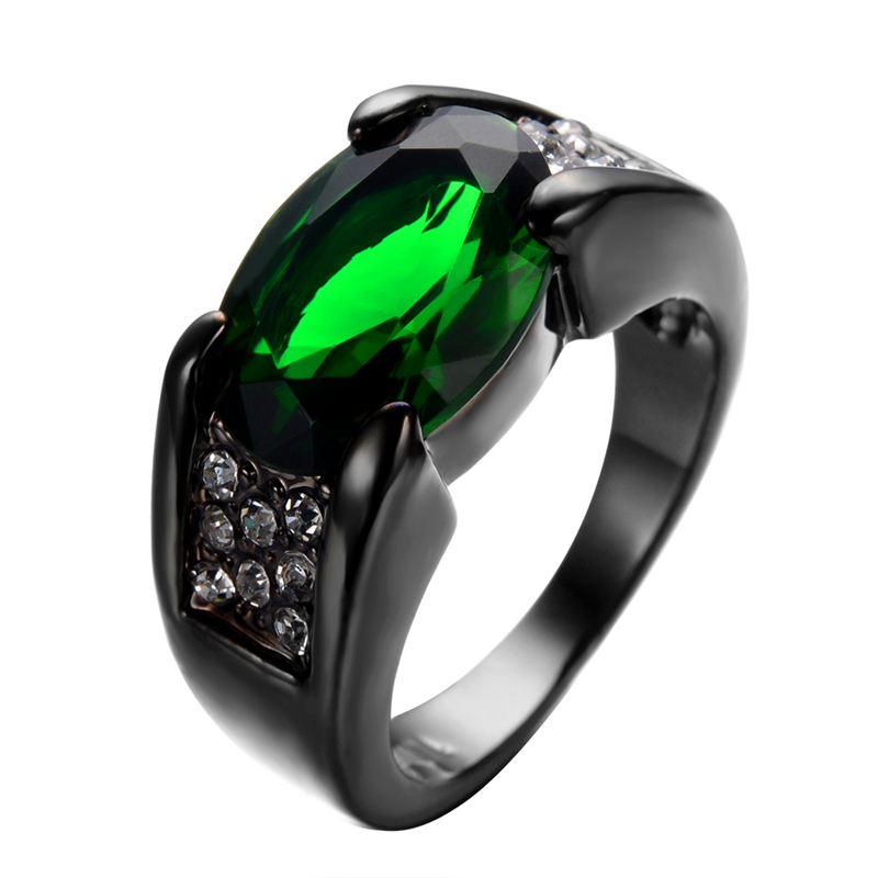 Fat Green Stone Punk Jewelry Women Men Vintage Green Ring White Cz
