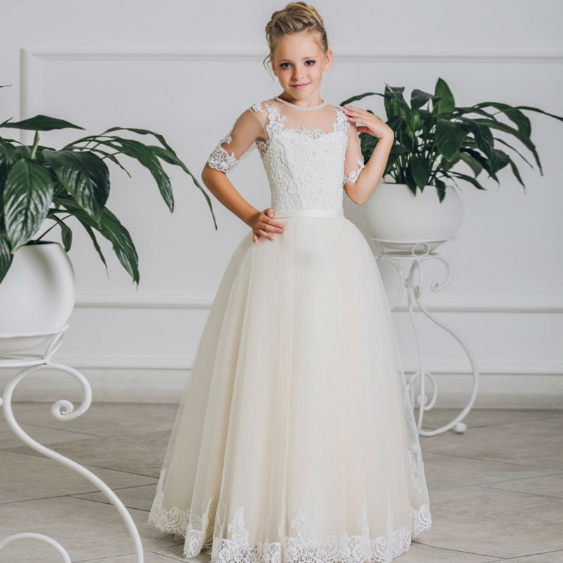 50e9c3e96635 Online Shop White Lace Flower Girls Dresses For Wedding Gown Short Sleeve  Mother Daughter Dresses Ball Gown Kids Evening Gowns For Girls