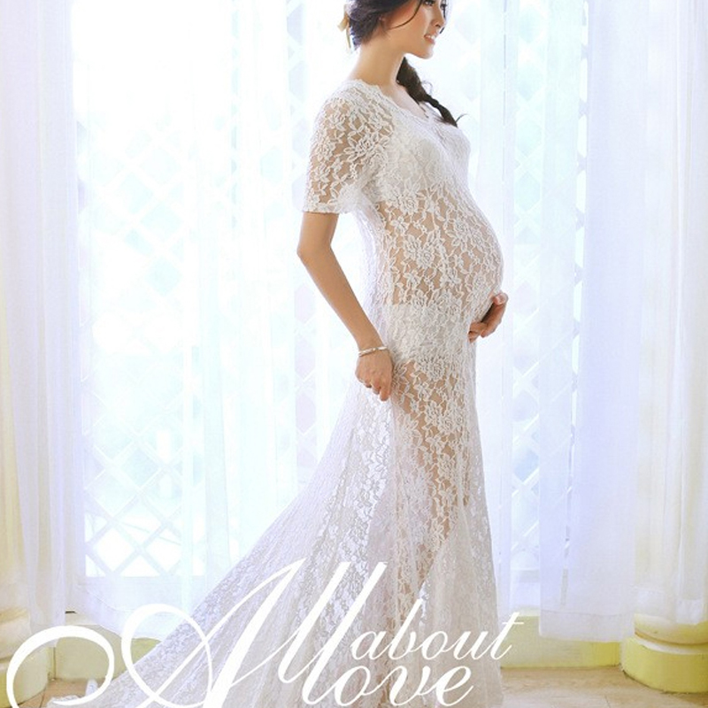 7940e50f2 OkayMom Maternity Photography Props Sexy V Neck Long Lace Wedding Party  Dress For Pregnant Women Pregnancy Wear Dresses Clothing-in Dresses from  Mother ...