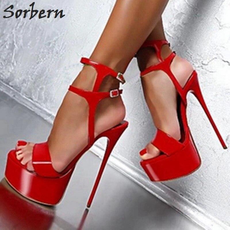 Sorbern rouge femmes sandales chaussures talons hauts plate-forme sandales femmes sandales d'été bride à la cheville chaussures femmes