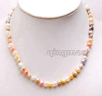 Qingmos Multicolor naturalna perła słodkowodna naszyjnik dla kobiet z 6-7mm barokowe perły Chokers 17 #8221 biżuteria Collier nec6246 tanie i dobre opinie STAINLESS STEEL Kobiety Moc naszyjniki CN (pochodzenie) Klasyczny Twisted singapur łańcuch Pearl BAROQUE Perły słodkowodne