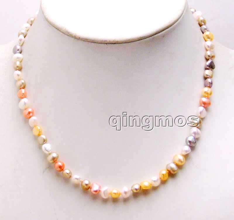 Small 6-7mm Multicolor Baroque Natural Freshwater Pearl Necklace 17''-nec6246 wholesale/retail Free shipping
