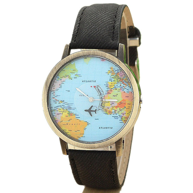 Quartz watch world travel map watches - retro wrist watch different styles and colours 1