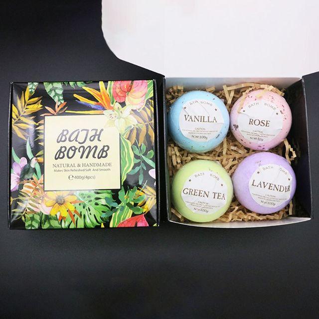 4Pcs/Box Deep Sea Bath Salt Dried Flower Essential Oil Body Bubble SPA Bath Bomb Ball Aromatherapy Dry Skin Moisturize Gift 5