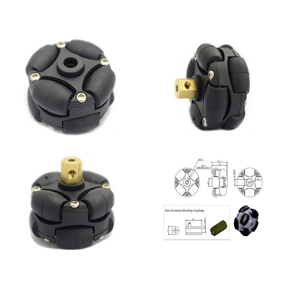 UniHobby UH184 38mm 1.5 pouces Double En Plastique Omni Roue avec 3mm 4mm de montage raccords pour Arduino Robot plates-formes (4 pcs/paquet)