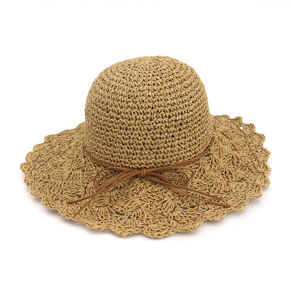 Bowknot Straw Hats for Women Summer Beach Fashion Sun Hat Floppy Hand Knite Foldable Panama Chapeau Femme Wide Brim Hat