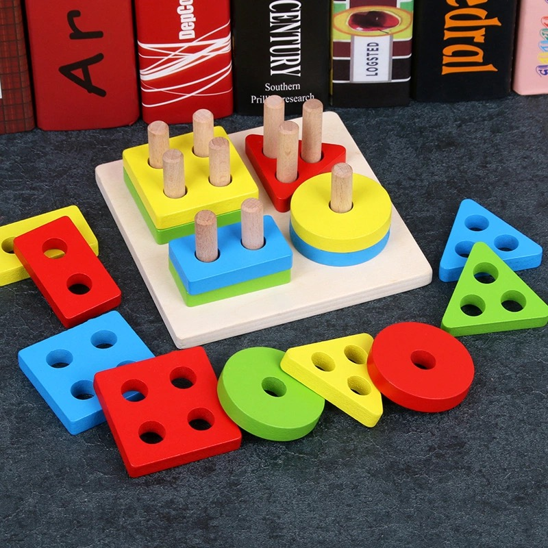Baby Toys Educational Colorful Wooden Geometric Sorting Board Montessori Kids Educational Toys Stack Building Puzzle Child Gift