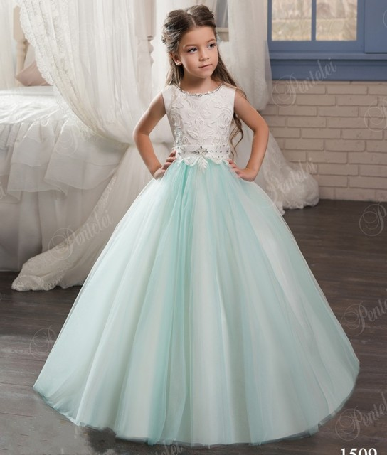 2017 Sky Blue Lace Flower Girls Dresses For Weddings Appliques Ball ...