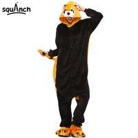 Women Onesie Raccoon Pajama Funny Cute Animal Party Suit Unisex Adult Winter Brown Black Jumpsuit Warm