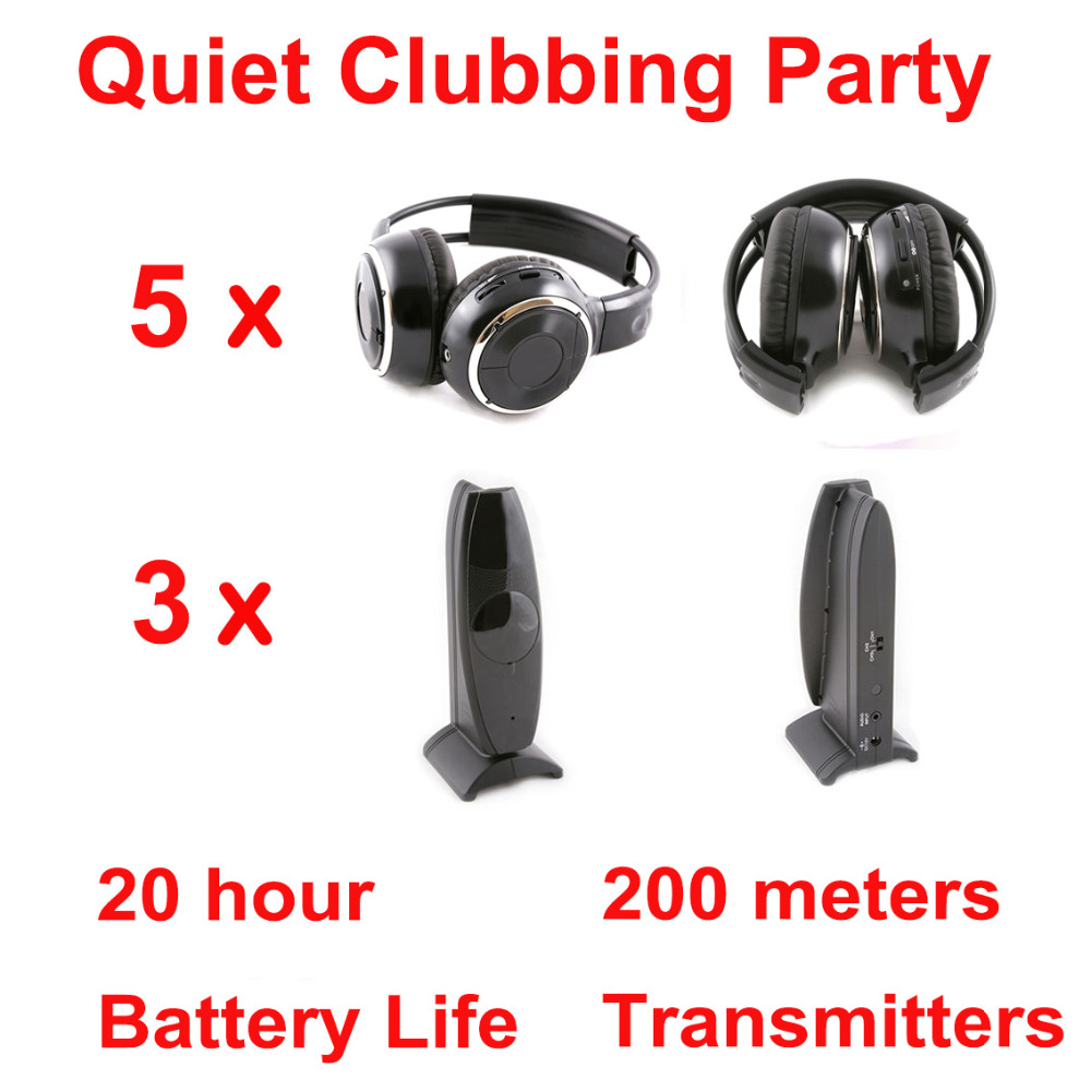 Silent Disco complete system black folding wireless headphones – Quiet Clubbing Party Bundle (5 Headphones + 3 Transmitter)