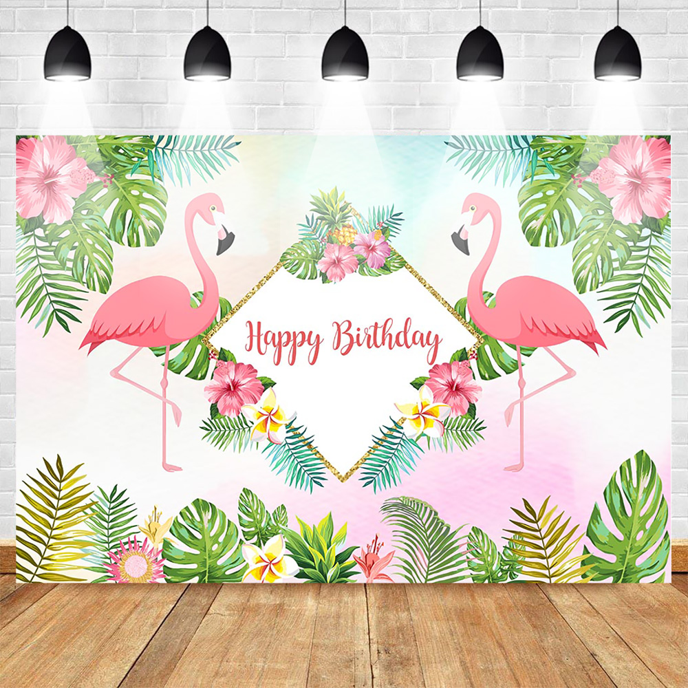 Mehofoto Flamingo Celebration Birthday Photo Background Summer Hawaiian Vacation Style Backdrop Flowers Pineapple Leaves Golden