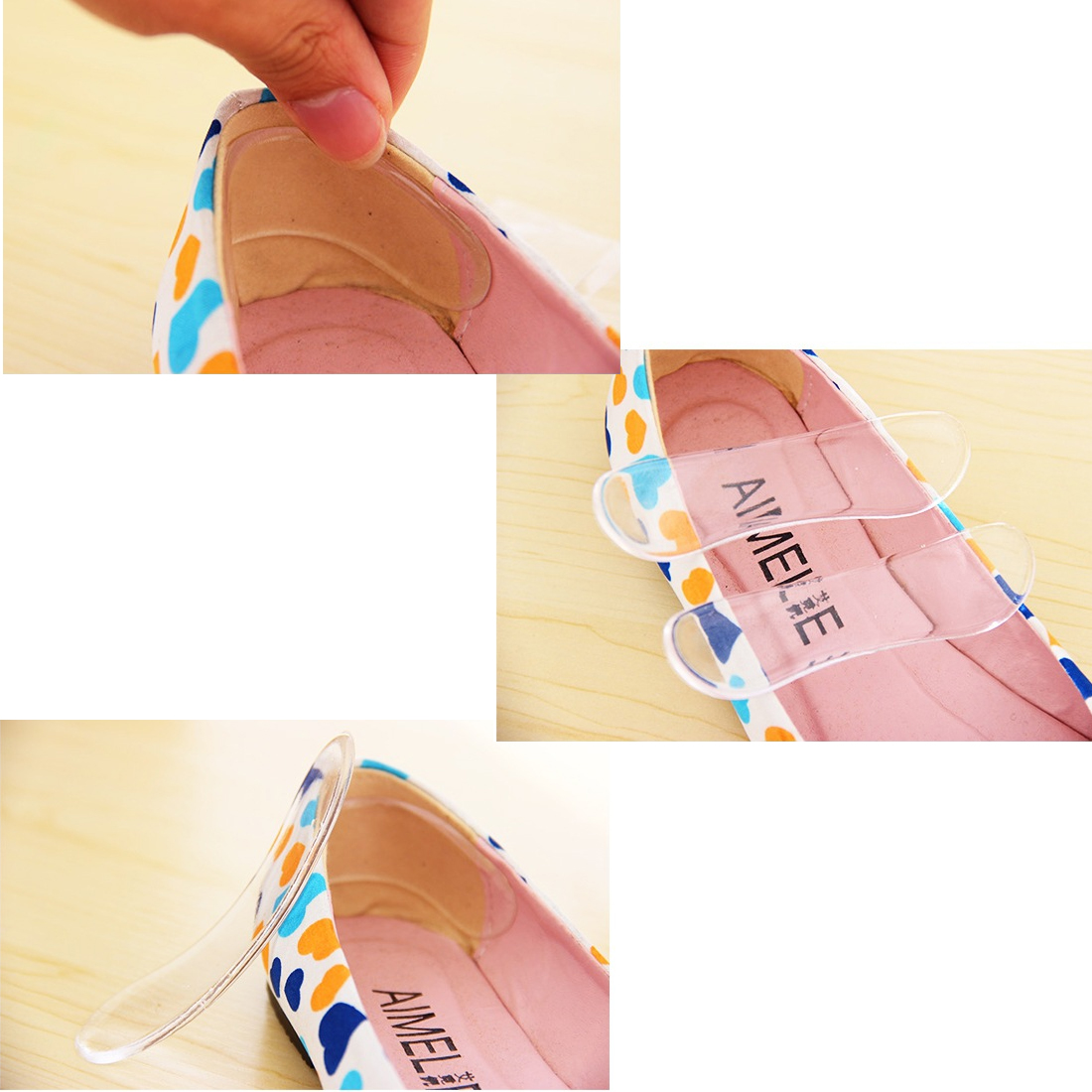 Silicone Gel High Heel Shoe Insole 1 Pair Invesible Transparent Soft Foot Care Shoes Insert Sticker Washable Reuse Footpad