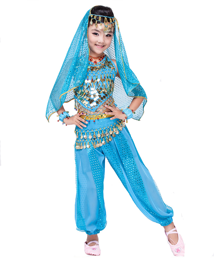 Children Belly Dance Costume Kids Indian Bollywood Performance Cloth Girls Bellydance Pant Cloth RED/YELLOW