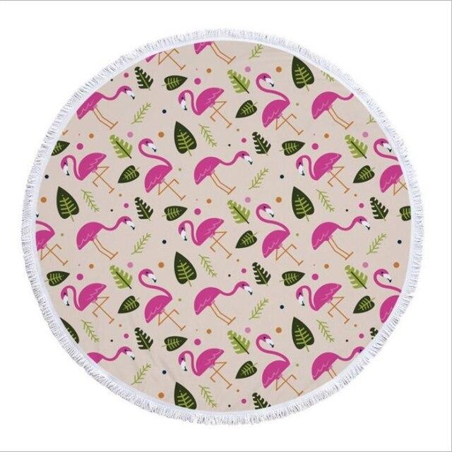 Superfine fringes Flamingo Summer Large Microfiber Printed Round Beach Towels With Tassel Bohemia Bath Towels Shawl
