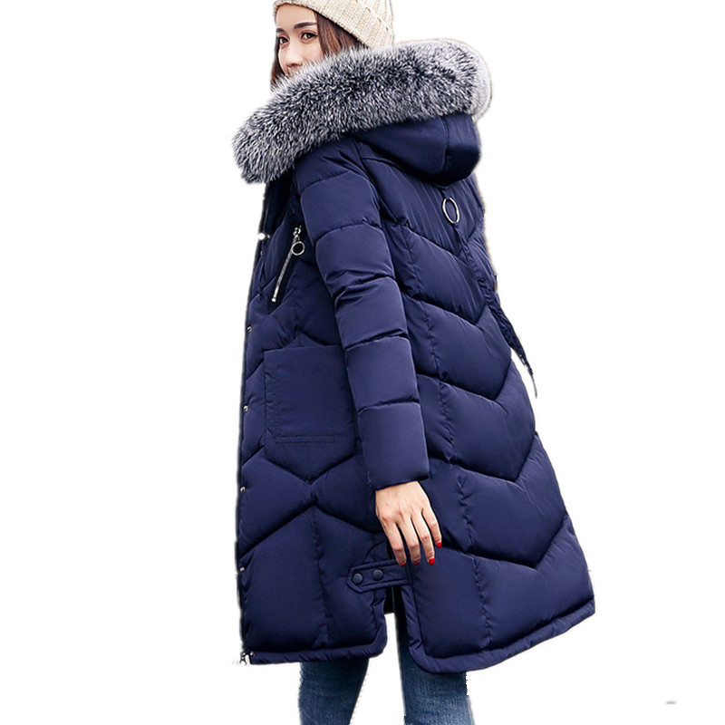 Plus Size Large Fur Collar Hooded Winter   Parka   Female Cotton Casual Fashion Coat Outerwear Red Padded Jackets Thickening TT2909