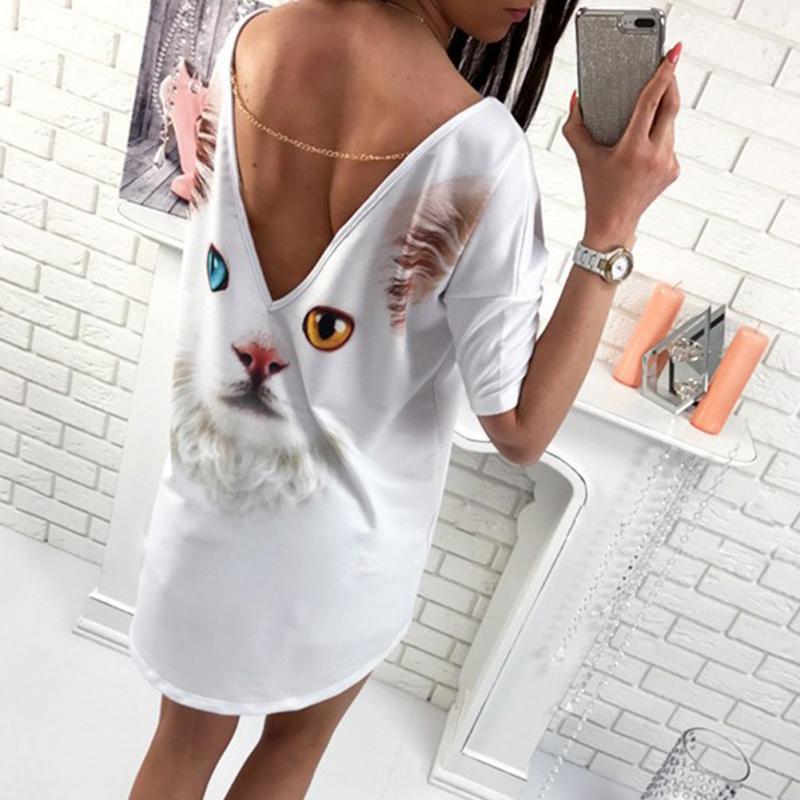 ארוך סגנון T חולצות פרפר, חתול נשים חולצות קצר שרוול חולצות