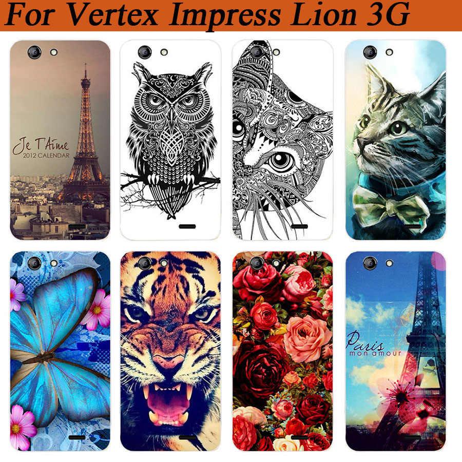 Voor Vertex Impress Leeuw 3g Case Cover 5.0 Inch Patroon Geschilderd gekleurde Tijger Uil Rose Soft Tpu Voor Vertex Impress Leeuw 3g