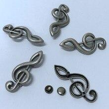 New Coming 30PCS 38X17MM Antique Silver Music Symbol Studs Rivet Punk Spike Shoes Belt Bag Bracelets Accessories Leather Craft