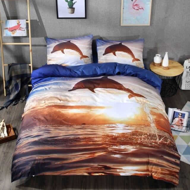 Lai Yin Sun Hd Dolphin Digital Printing Bedding Set Bohemia King Duvet Cover Pillow Case