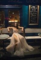 Видеть оранжевый настоящая фотография бисера Florals Спагетти ремень Иллюзия ручной работы сетки Длинные Пром вечерние платье Глубокий V 2018