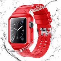 38mm 42mm Multiple Colour TPU Rubber Silicone Sport Loop With Protective Case For Apple Watch Bands