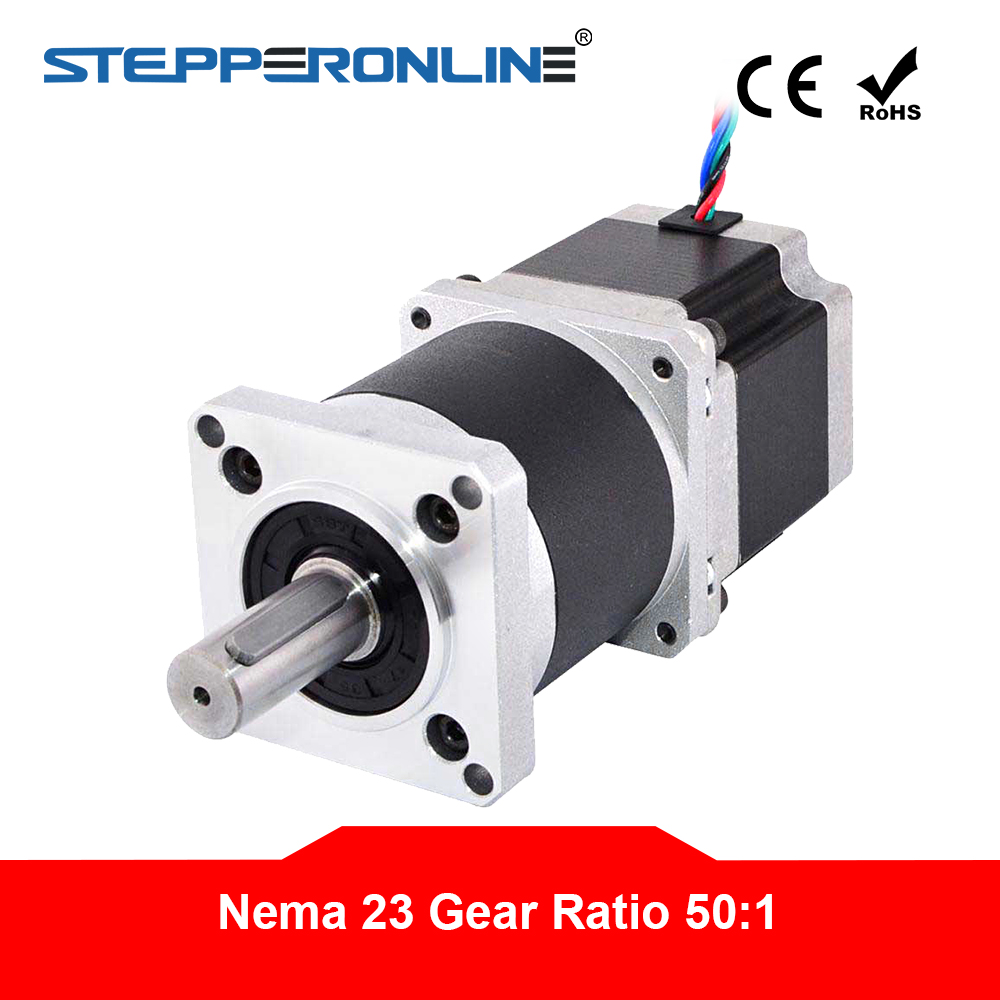 Nema 23 Stepper Motor L 56mm Gear Ratio 50 1 High Precision Planetary Gearbox 4 lead