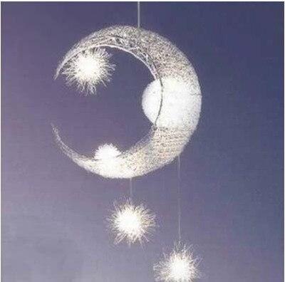 Lighting simple modern pendant lamp aluminum wire moon star light aluminum wire star moon pendant lights creative