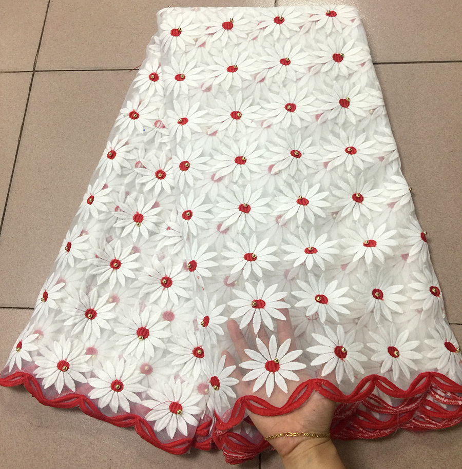New White+red African Lace Fabrics Embroidered Nigerian Guipure Cord Lace Fabrics High Quality French Lace Fabric With StonesNew White+red African Lace Fabrics Embroidered Nigerian Guipure Cord Lace Fabrics High Quality French Lace Fabric With Stones