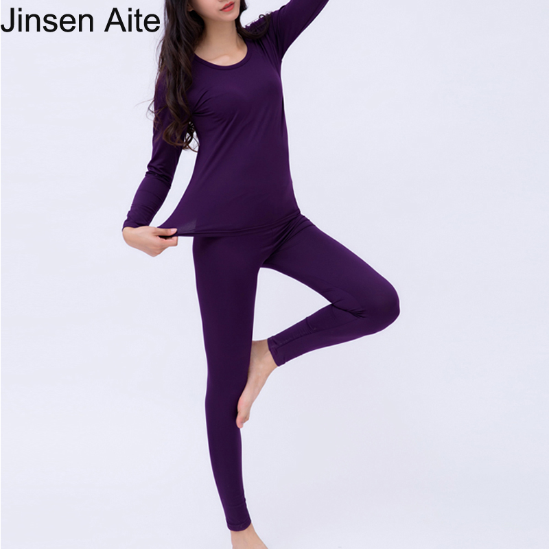 Jinsen Aite Winter Thick Fleece Plus Size 6XL Long Johns Women Modal Comfortable Elasticity Thermal Underwear Set Clothing JS242