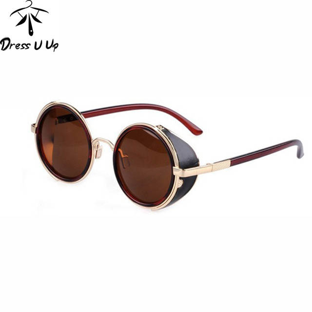 328ad3b16c DRESSUUP STEAMPUNK Retro COATING mens Vintage Round Sunglasses men women  Brand Designer Sun Glasses Gafas Oculos