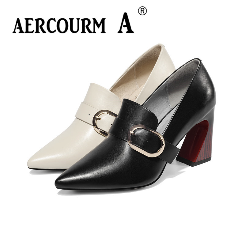 Aercourm A 2019 Women Metal Buckle Pumps Shoes Lady Cow Genuine Leather Shoes Square Heel Pumps New Spring Black Beige ShoesAercourm A 2019 Women Metal Buckle Pumps Shoes Lady Cow Genuine Leather Shoes Square Heel Pumps New Spring Black Beige Shoes