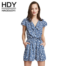 2019 Summer Women Casual Floral Playsuits Elegant V neck Playsuit Short Jumpsuit Ruffles Loose