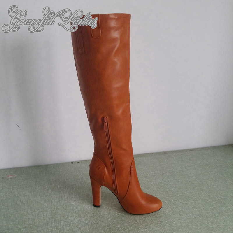 Brown Soft Faux Leather Women Boots Knee High Round Toe Long Ladies Boots Square High Heels Real Image Shoes Ladies Side Zipper free shipping star galaxy cosmos 3d flooring painting wallpaper restaurant tea house self adhesive pvc floor mural