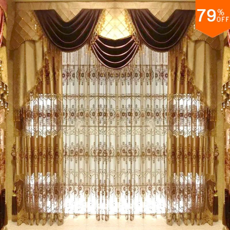 super queen ! Dubai Ancient times Luxury magnetic drapes living rooms golden embroid door curtains hotels drapery window W 2.5 M