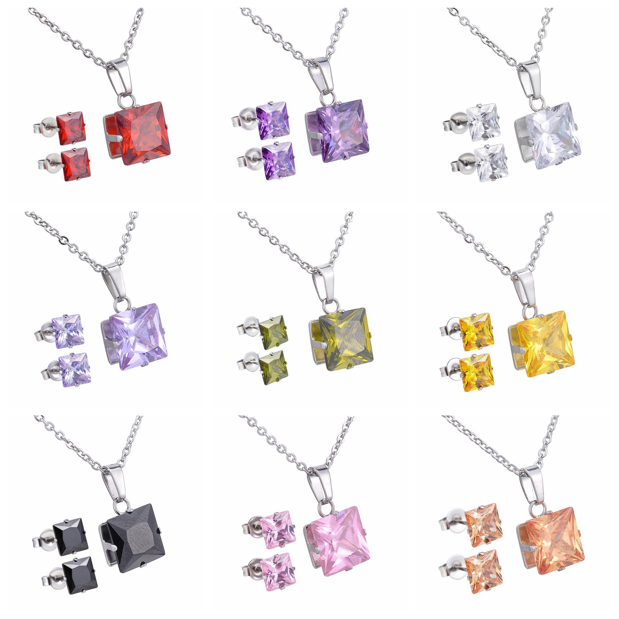 U7 Anting Kalung Batu Antik Mewah Set Stainless Steel Perhiasan 1 Kristal Jewlery Untuk Wanita Valentines Day Hadiah Cakar Liontin