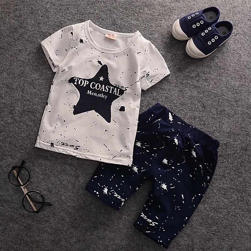 2017 Summer Baby Boys Clothes Kids Short Sleeve Clothing Set Star Toddler Boys short sleeved T-Shirts+Children Shorts