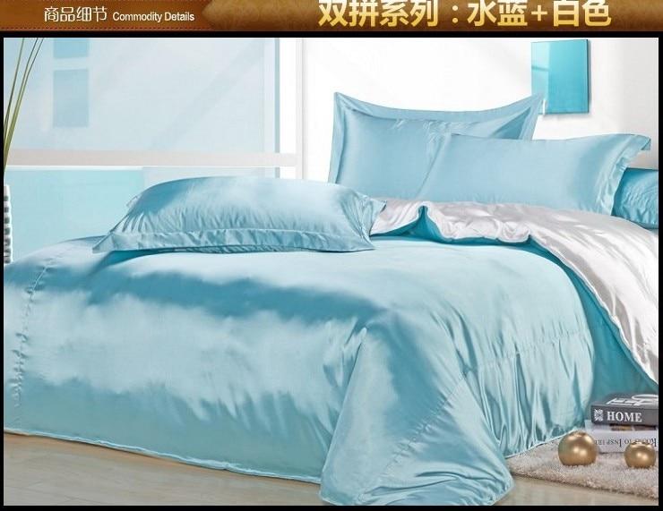 Aqua Blue White Silk Bedding Set Satin Sheets Queen Full
