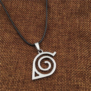Image 3 - Wholesale 10pcs/lot Anime Jewelry Naruto Konoha Logo Pendant Necklace With Rope Chain For Men Gifts