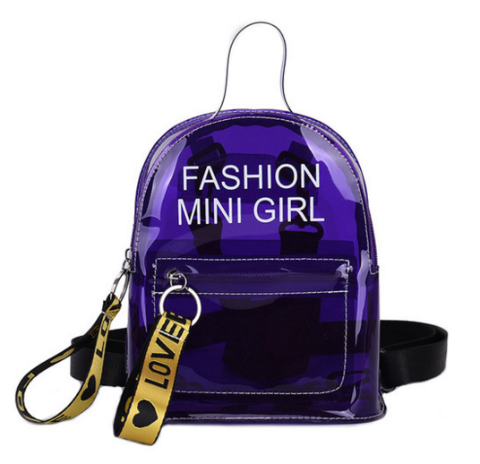 Summer Fashion Transparent PVC Laser Student Backpack Preppy Style Teenage Girls Chain Bag Letter Jelly Shoulder Bag D131 in Backpacks from Luggage Bags