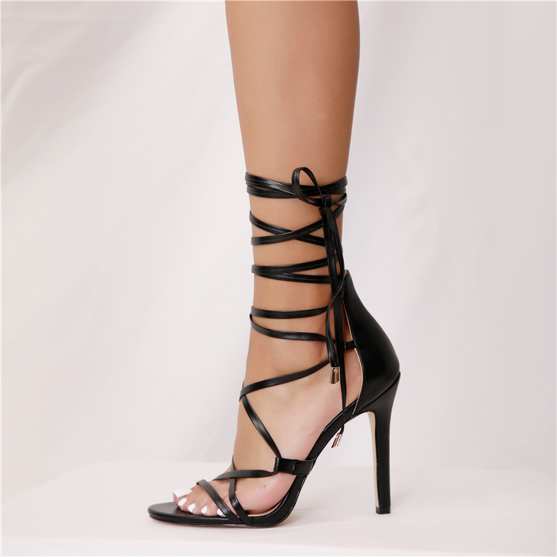 Shoes Heels Summer Women Sandals Sexy Block Heels Cutout Classic Sandals Cross-tied Women Shoes Extreme High Heels Spuare Heel Plus Size 43 More Discounts Surprises